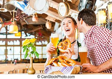 frumento, ristorante, birra, bere, coppia, bavarese