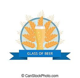 frumento, vetro, birra, fondo, weizen, orecchie