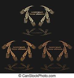 frumento, vettore, dorato, nero, tre, set, avena, logotypes, o, orecchie, orzo