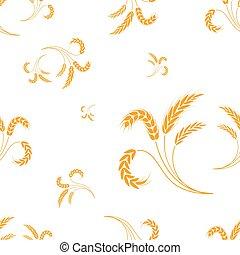 frumento, vettore, pattern., seamless, illustration.