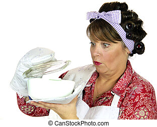 Frumpy Cooking Housewife - Frumpy housewife gets a surprise...