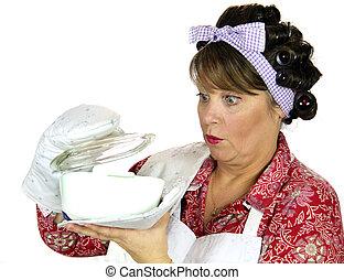 frumpy, het koken, huisvrouw
