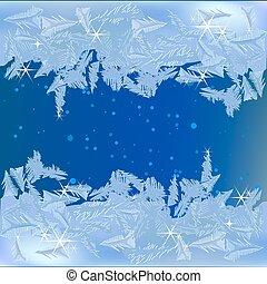 frusen, frost, på, den, fönster