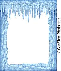 frusen, ram, av, istappar, och, is, med, vit, tom, område