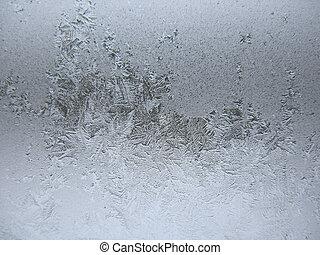 frusen, vinter, fönster