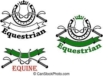 fruste, emblemi, ferri cavallo, sport, equestre