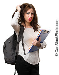 frustré, étudiant, femme