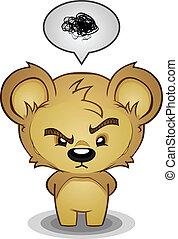 frustré, caractère, dessin animé, ours