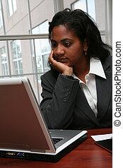 frustré, femme affaires