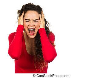 frustré, femme, crier
