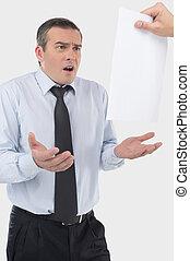frustrado, businessman., chocado, meio envelheceu, homem...