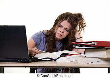 frustrado, colegio, studen