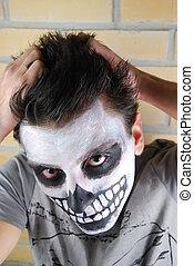 frustrado, esqueleto, sujeito, (carnival, portrait)