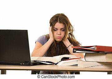 frustrado, estudante universitário