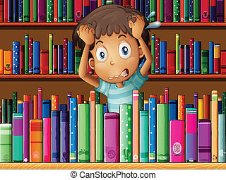 frustrado, jovem, biblioteca, homem
