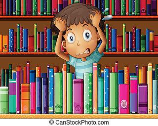 frustrado, joven, biblioteca, hombre