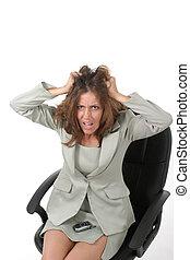 frustrado, mujer de negocios, tirar, ella, pelo, afuera, 1