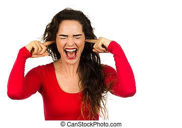 frustrado, mulher, cobertura, dela, orelhas