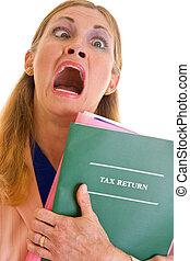 frustrado, mulher negócio, impostos fazendo