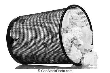 Frustrate metal bucket with paper waste isolated on white. -...