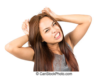 Frustrated Asian Girl Temper Tantrum Pulling Hair - A...