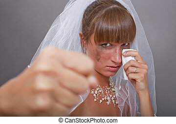 frustrated bride punching
