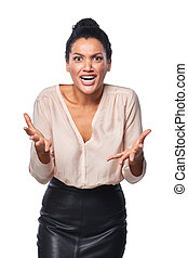 Frustrated business woman - Business woman shrugging her ...