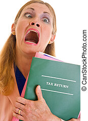 Frustrated Business Woman Doing Taxes - Frustrated,...