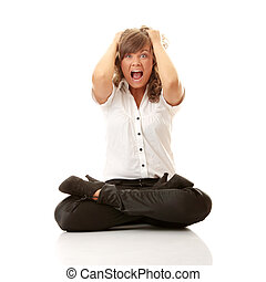 Frustrated Business woman trying to maditate - anger and...