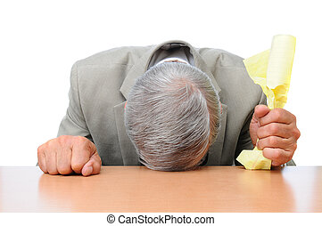Frustrated Businessman Head on Desk