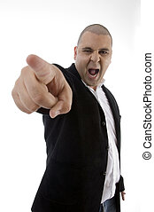 frustrated businessman shouting and pointing