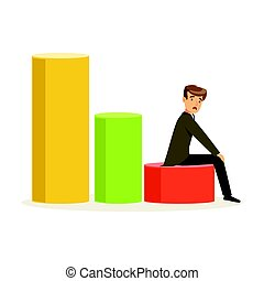 Frustrated businessman sitting on a graph down, unsuccessful character vector Illustration