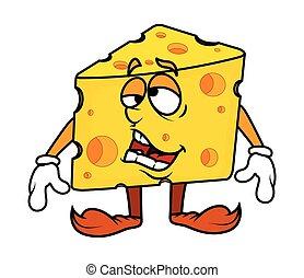 Frustrated Cartoon Cheese Vector