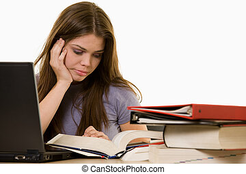 Frustrated college studen - Young woman sitting in front of...