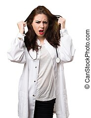 Frustrated doctor woman