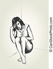 Frustrated - Sketch illustration of a frustrated woman in a...