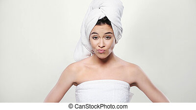 Frustrated Fresh Woman Wrapped in a Towel