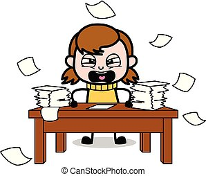 Frustrated from Lots of Work - Retro Cartoon Girl Teen Vector Illustration