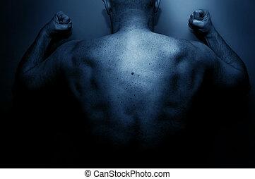 Frustrated man expressing his anger. Prison, criminal, ...