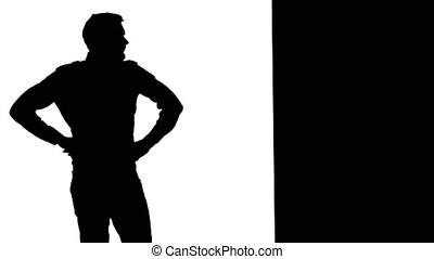Frustrated man leaning against wall. White background....