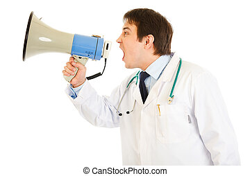 Frustrated medical doctor yelling through megaphone isolated on white