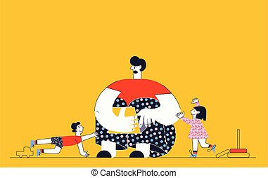 Frustrated parent Work from home Difficult parenting flat vector cartoon illustration
