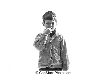 Frustrated - Portrait of Caucasian caprice child on white...
