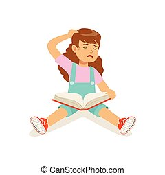 Frustrated sad girl character sitting on the floor with an open book vector Illustration