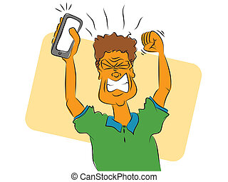Frustrated Smart Phone User - Cartoon of an angry man using...