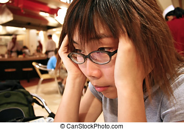 Frustrated asian female.