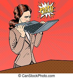 Frustrated Stressed Business Woman Biting Laptop in Office....