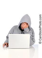 Frustrated Teenage Computer User