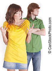 frustrated woman and angry man on a white background
