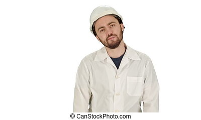 Frustrated workman in helmet over on white background.
